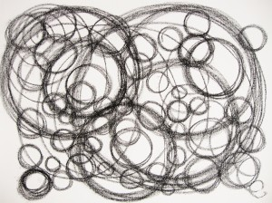 My further exploration of happy and joy in black and white circles. I was encouraged to draw large and small circles. This attempt felt more spontaneous and less hesitant. It did bring on a youthful freedom.